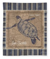 Nautical Stripes Sea Turtle Fleece Blanket