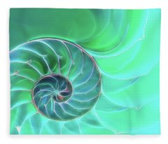 Nautilus Aqua Spiral Fleece Blanket