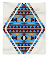 Navajo Blue Pattern Art Fleece Blanket