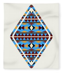 Navajo Blue Pattern Art Fleece Blanket
