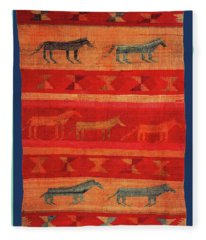 Navajo Horses Fleece Blanket