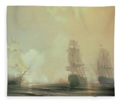 Naval Battle In Chesapeake Bay Fleece Blanket