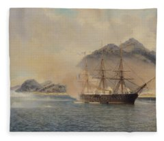 Naval Battle Of The Strait Of Shimonoseki Fleece Blanket