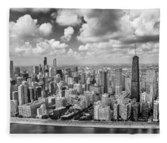 Near North Side And Gold Coast Black And White Fleece Blanket