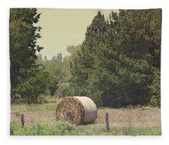 Nebraska Farm Life - Hay Bail Fleece Blanket
