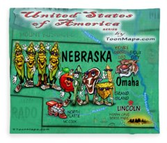 Nebraska Fun Map Fleece Blanket
