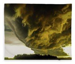 Nebraska Supercell, Arcus, Shelf Cloud, Remastered 018 Fleece Blanket