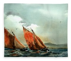 Neck And Neck On Galway Bay Fleece Blanket