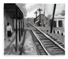 Needham Train Station 1959 Fleece Blanket