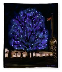 Needham's Blue Tree Fleece Blanket