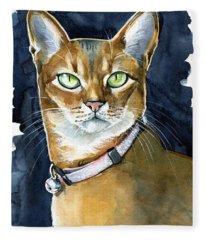 Nefertiti - Abyssinian Cat Portrait Fleece Blanket