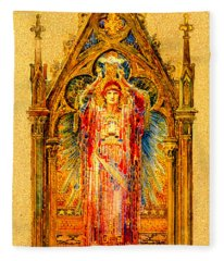 Neo Gothic Jesus Christ Mosaic Panel  Fleece Blanket