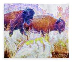 Neon Bison Pair Fleece Blanket