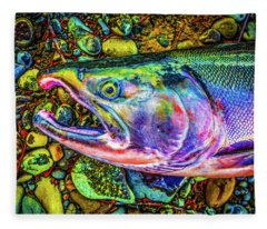 Neon Coho  Fleece Blanket