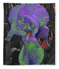 Neon Iris Dark Background Fleece Blanket