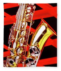 Neon Jazz Sax Fleece Blanket
