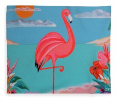 Neon Island Flamingo Fleece Blanket