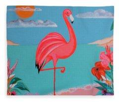 Neon Island Flamingo Fleece Blanket