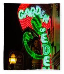 Neon Sign Garden Of Eden Fleece Blanket