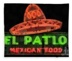 Fleece Blanket featuring the painting Neon Sign Series Mexican Food Austin Texas by Edward Fielding