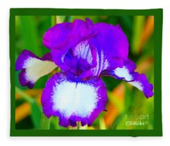 Neon Violet Iris Fleece Blanket