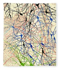Nerve Cells Santiago Ramon Y Cajal Fleece Blanket