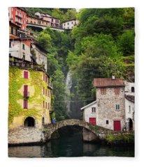 Nesso On Lake Como Italy Fleece Blanket