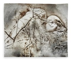 Nesting Egret - Digital Art Fleece Blanket