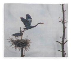 Nesting Great Blue Heron Fleece Blanket
