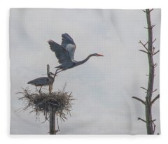 Nesting Great Blue Heron Fleece Blanket