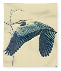 Nesting Heron Fleece Blanket