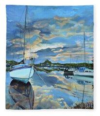 Nestled In For The Night At Mylor Bridge - Cornwall Uk - Sailboat  Fleece Blanket