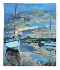 Nestled In For The Night At Mylor Bridge - Cornwall Uk - Sailboat  Fleece Blanket