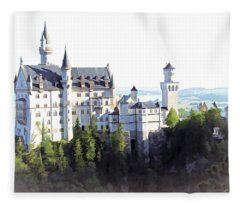 Neuschwanstein - Watercolor Fleece Blanket