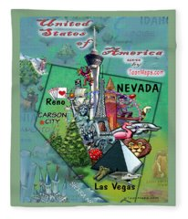 Nevada Fun Map Fleece Blanket