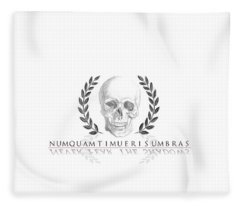 Never Fear The Shadows Stoic Skull With Laurels Fleece Blanket