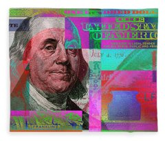 New 2009 Series Pop Art Colorized Us One Hundred Dollar Bill  No. 3 Fleece Blanket