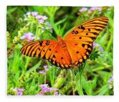 Windows From Heaven Orange Butterfly Fleece Blanket