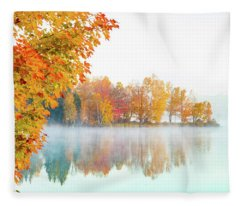New England Fall Colors Of Maine Fleece Blanket