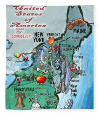 New England Fun Map Fleece Blanket