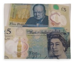 New Five Pound Notes Fleece Blanket