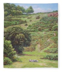 New Forest Hill With Cows And Horses Fleece Blanket