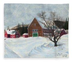 New Hampshire Farm In Winter Fleece Blanket
