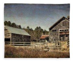 New Hampshire Old Barn  Fleece Blanket