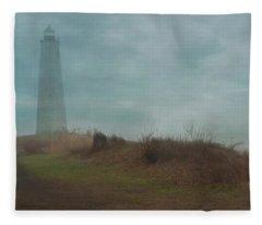 New Haven's Lighthouse In Mist Fleece Blanket
