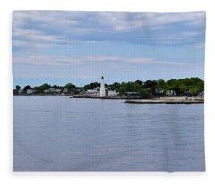 New London Harbor Lighthouse Fleece Blanket