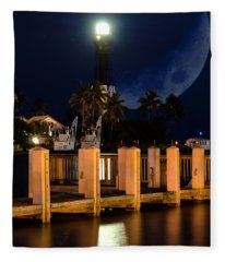 New Moon At Hillsboro Inlet Lighthouse Fleece Blanket