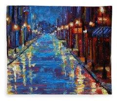 New Orleans Bourbon Street Fleece Blanket