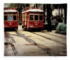 New Orleans Red Streetcars Fleece Blanket