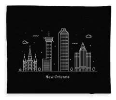 New Orleans Skyline Travel Poster Fleece Blanket